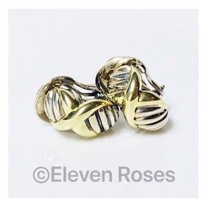 David Yurman Sterling & 14k X Crossover Earrings
